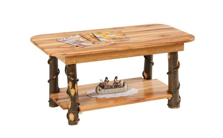 Amish Rustic Hickory Coffee Table with Shelf  Rustic Cabin Hickory Collection  This polished and dazzling Hickory Coffee Table will make a fantastic addition to your TV or Living Room.