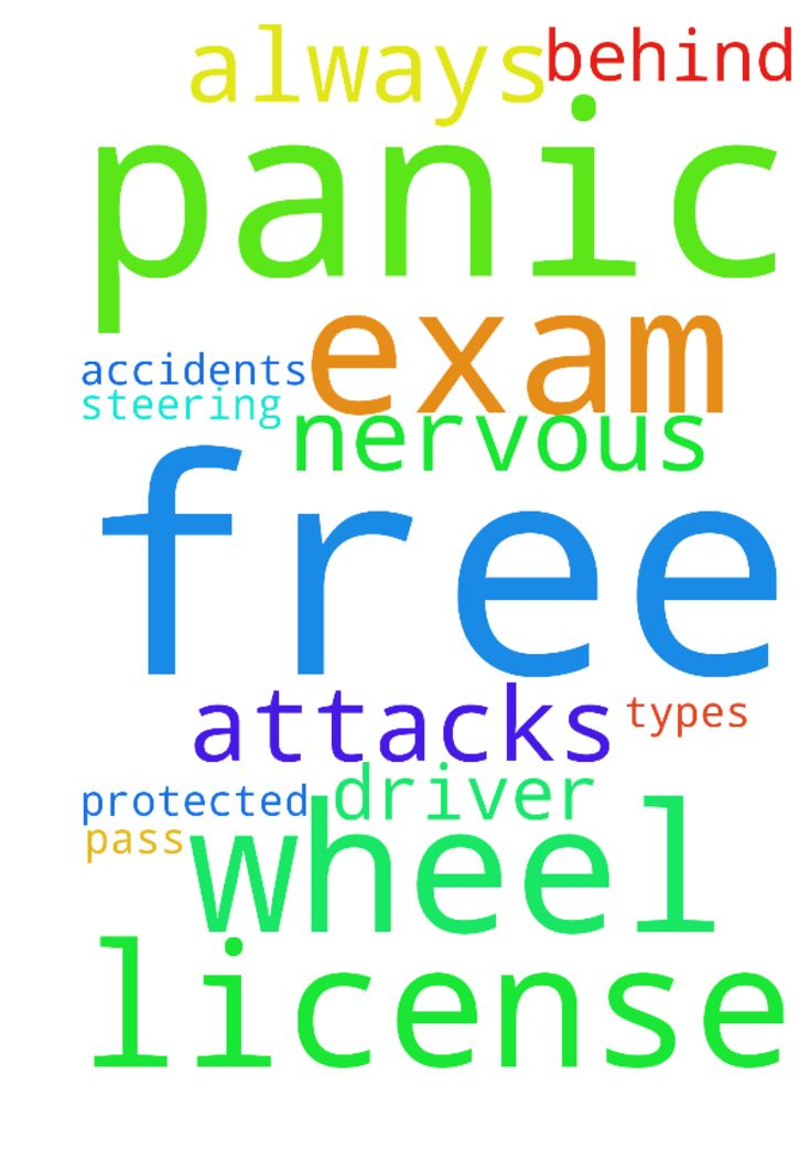 Please pray I will be free once and for all from panic - Please pray I will be free once and for all from panic attacks. Please pray I will not get nervous behind the steering wheel. That I will be protected always from accidents of all types. Please pray I will pass my driver license exam. Amen Posted at: https://prayerrequest.com/t/GqJ #pray #prayer #request #prayerrequest
