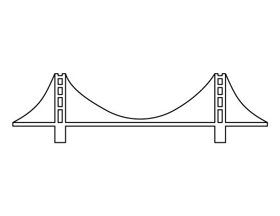 Golden Gate Bridge pattern. Use the printable outline for crafts, creating stencils, scrapbooking, and more. Free PDF template to download and print at http://patternuniverse.com/download/golden-gate-bridge-pattern/