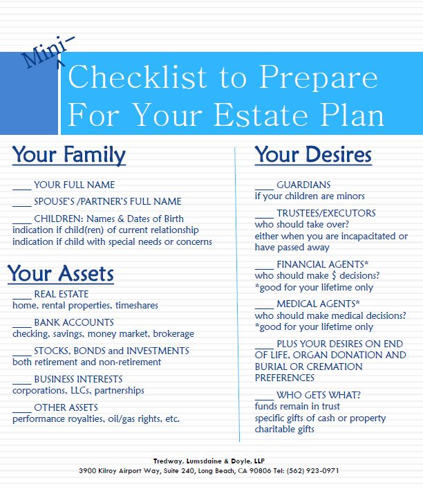 Mini Checklist For Estate Planning