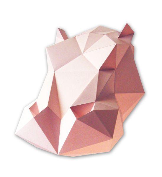 Doe het zelf origami vouw kit Dieren kop van Indie-ish op DaWanda.com