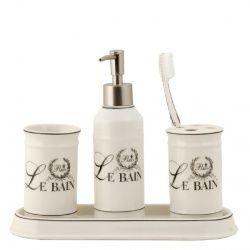 De landelijke uitstraling van de badkamersets van Clayre & Eef zijn tot over de grenzen bekend. Klassieke ontwerpen met een rustiek karakter vormen de basis van de serie badkameraccessoires. Deze badkamerset is voorzien van de opdruk Paris Le Bain, omgeven door een lauwerkrans.  De 4-delige badkamerset bestaat uit: * Zeeppomp, * Tandenborstelbeker, * Zeepschaal, * Beker  Een prachtige badkameraccessoire, die echter in de keuken of het toilet ook een hele mooie accessoire vormt.  Afmetingen…