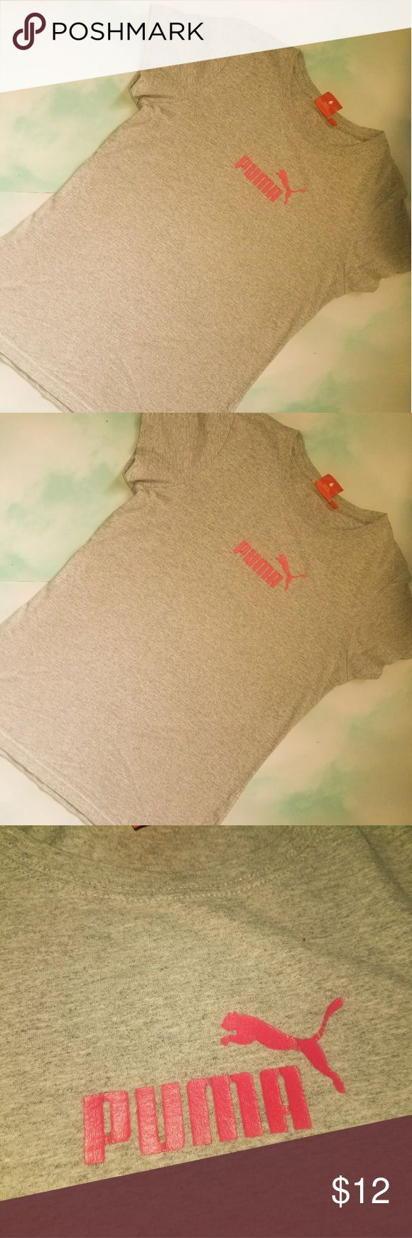 Puma shirt Puma shirt grey and Pink. Pre loved in great condition.  Size medium.. puma Tops Tees - Short Sleeve