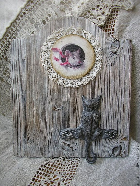 Купить Кошки-мышки - серый, вешалка, вешалка в детскую, Вешалка для полотенец, вешалка-ключница, ключница