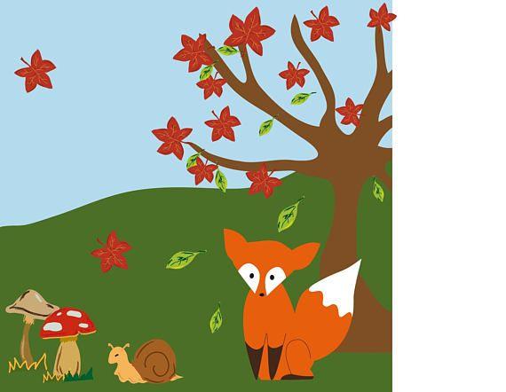 illustrazione amici d' autunno: volpe albero foglie