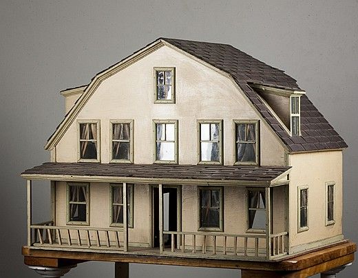 "Gambrel Shaped Doll House with large front porch, dormer on each side, 1920's wood construction, handmade from the eastern end of Long Island, does not have furniture, 25 1/2"" tall x 32"" long x 24 1/4"" wide, missing chimney but in good condition."