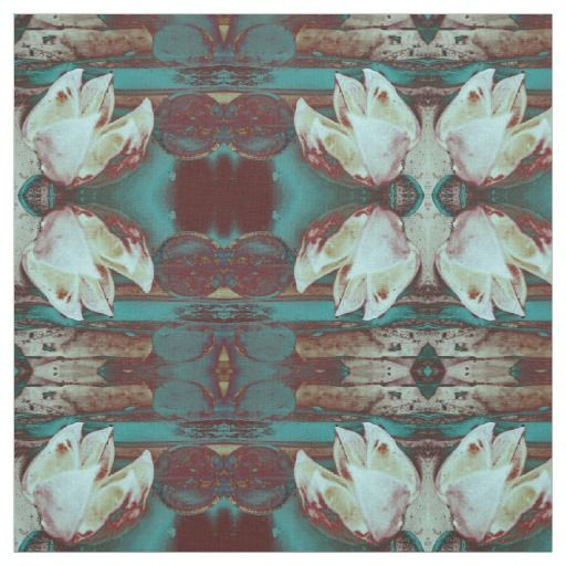 Artistic Water Lilly in Red and Blue Pattern Fabric / Select from 7 fabric types! #fomadesign