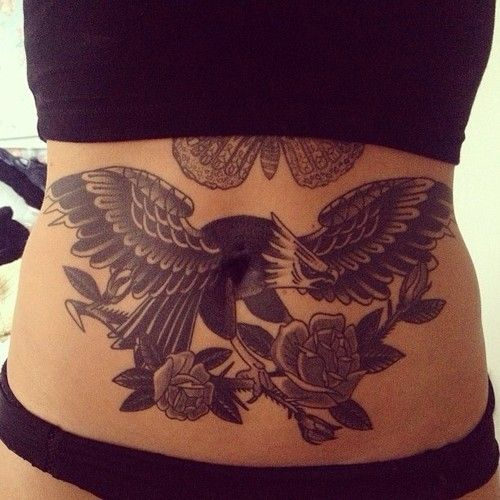 Classy and super pretty lower stomach tattoo designs!