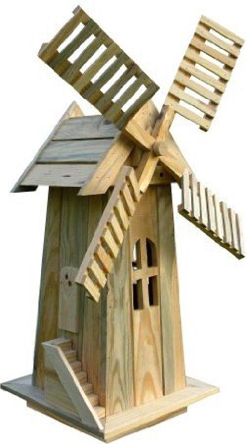 American Windmill Lawn Ornament Cedar Wood Handcrafted Outdoor Yard Decor  Garden