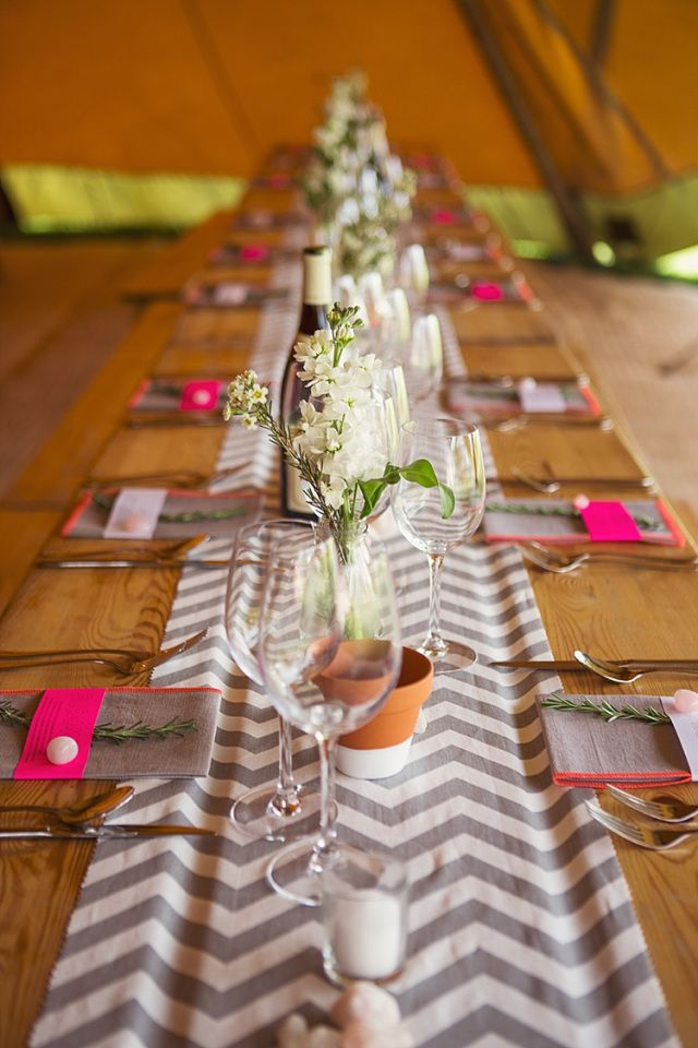 Chevron Table Cloths Runners Decor Stylish Creative Wild Flower Crowns Tipi Wedding http://www.cottoncandyweddings.co.uk/