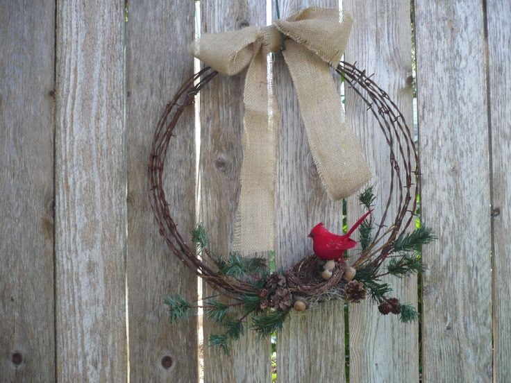barbed wire wreath/christmas | old barbed wire wreath with burlap bow, greenery, ... | Christmas wre ...