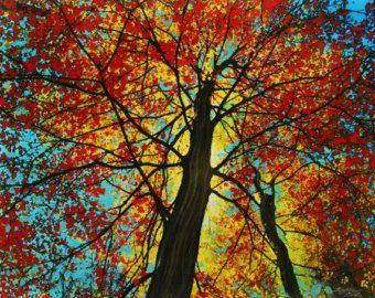 Otoño comienza, 16 x 20 pulgadas, Ideas de regalos / jardinero y naturalista, arte de la decoración #tree de #Fall #Gina Signore #red árboles hojas de #autumn