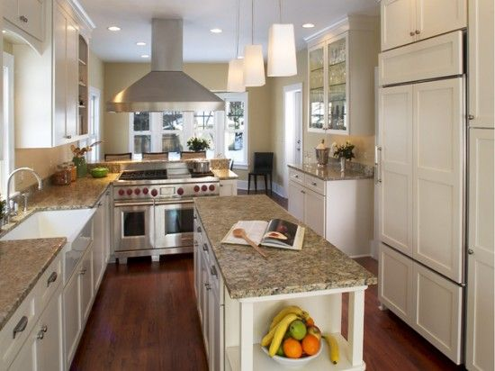 Elegant small long kitchen ideas galley and for Country kitchen designs layouts
