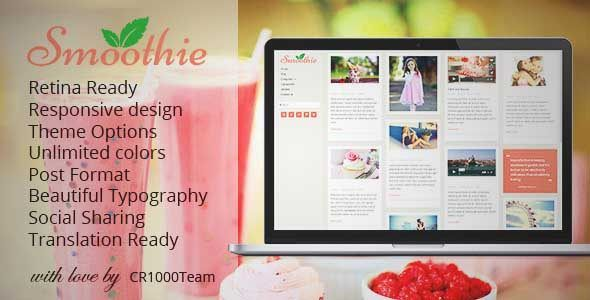 Download and review of Smoothie - Retina Responsive WordPress Blog Theme, one of the best Themeforest Magazine & Blogs themes