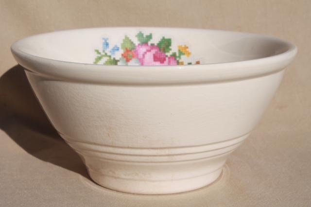vintage Harker BakeRite china bowl pudding basin, petit point flowers, cottage chic