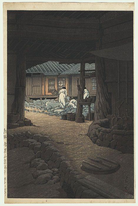 Kawase Hasui (1883 - 1957) Japanese Woodblock Print   Modan Viewpoint, Pyongyang, Korea, 1940 #woodblock