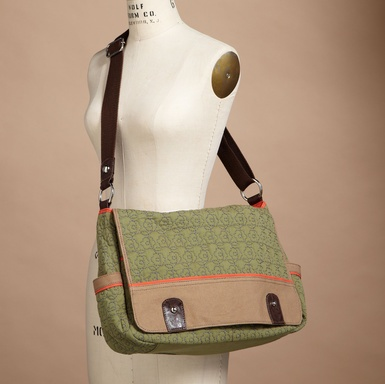 messenger bag...I'll bet sippy cups would fit in those side pockets