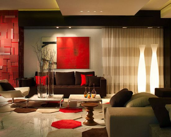 27 best Red living room images on Pinterest Living spaces, Red - orange and brown living room