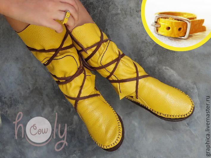 "Купить Позитивные кожаные мокасины ""Yellow Sun"" - желтый, мокасины, мокасины женские, мокасины из кожи"
