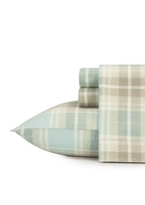 Laura Ashley Green Cranbourne Plaid Flannel Sheet Set