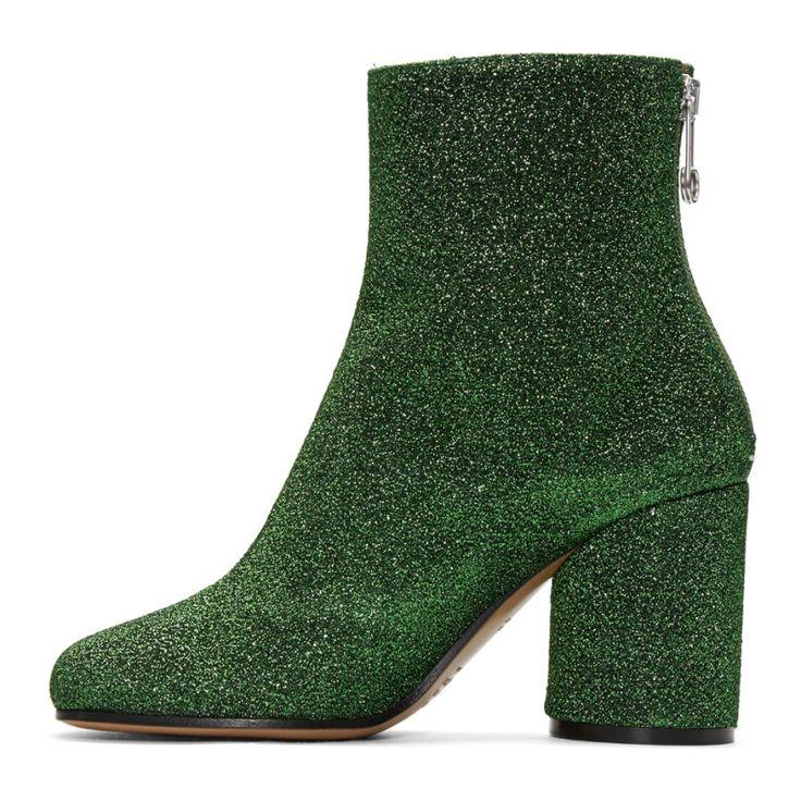9/19/16 Maison Margiela - Green Metallic Ankle Boots
