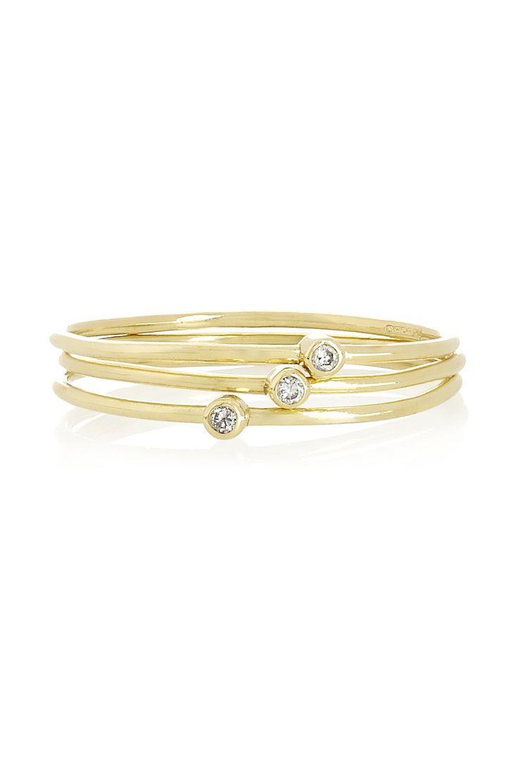 Jennifer Meyer | Set of three 18-karat gold diamond stacking rings | NET-A-PORTER.COM