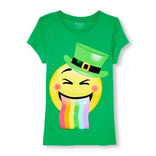s Short Sleeve St. Patrick's Day Rainbow Tongue Emoji Graphic Tee - Green T-Shirt - The Children's Place