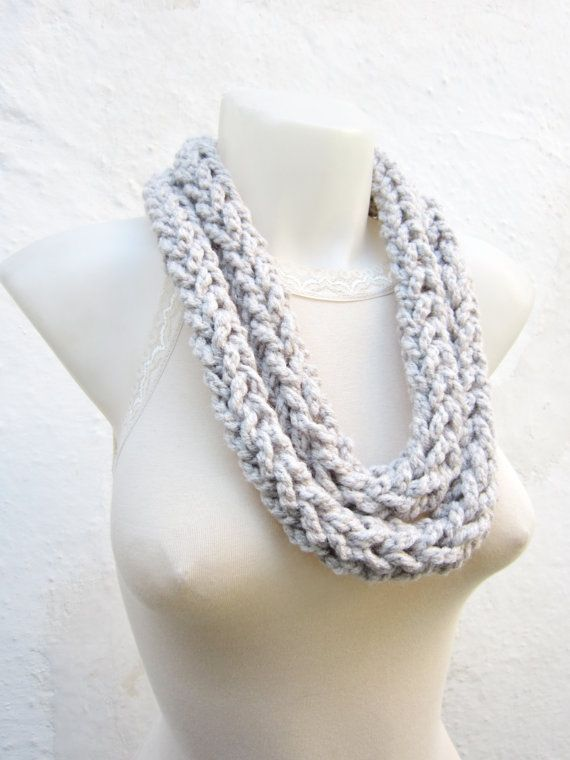 Crochet Scarf infinity Finger Knitting Scarf Cream  by scarfnurlu