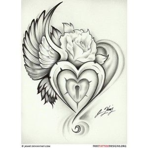 Broken Heart with Wings Tattoo | Tattoos / wing heart lock rose tattoo - Polyvore this i so pretty!