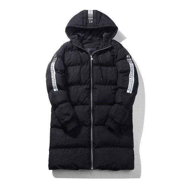 New Stylish Letter Print Long Sleeve Zipper Unisex Tunic Padded Coat (€41) ❤ liked on Polyvore featuring outerwear, coats, padded coat, zip coat, zipper coat and long sleeve coat