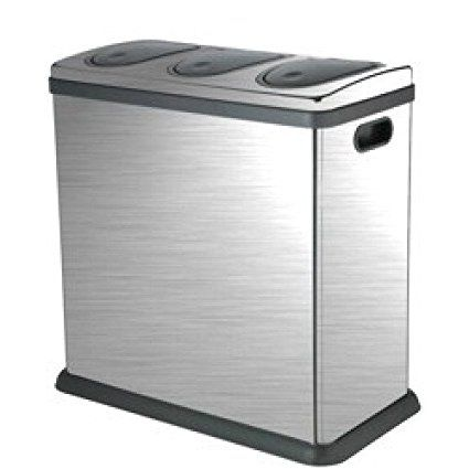 Laundry Company Trio 60 Litre Brushed Stainless Steel Kitchen Recycling Bin