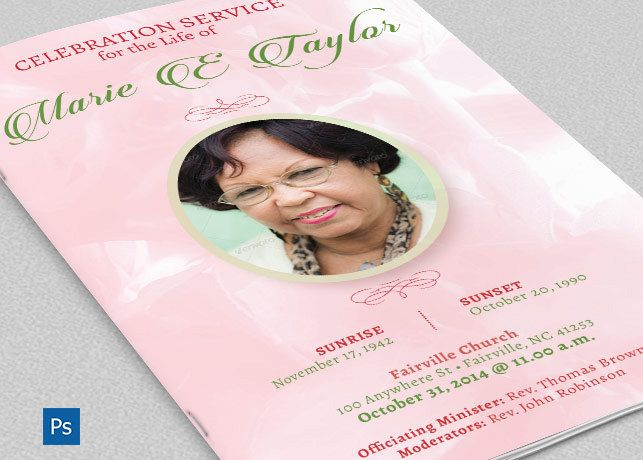 Pink Rose Funeral Program Photoshop Template is for a commemorative or home going funeral service. Designed specifically for funerals but can be edited for weddings etc. 4 one-click color options are included. In this package you'll find 4 Photoshop file and an Indesign File. A great value. All l