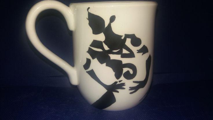 Diva hand painted coffee mug, made on order