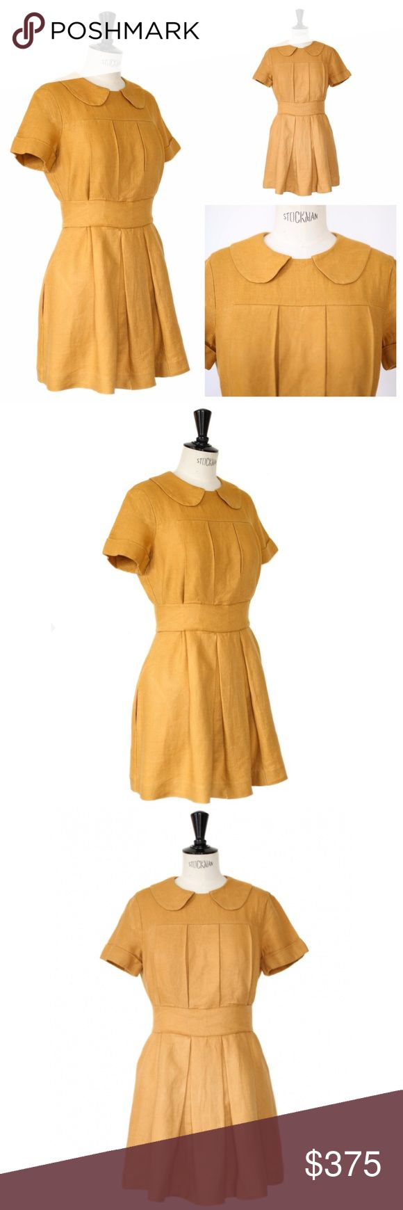 "SEE BY CHLOE Yellow Pleated Linen Mini Dress ""Lovely SEE BY CHLOE mini dress. Safran yellow linen short sleeves dress with peter pan collar. Beautiful saffran yellow color, very deep and vibrant, close to ocre and mustard yellow and slightly orange. Short sleeves. Peter pan collar. Linen belt knotted in the back. Small brass back zip. Long hidden side zip. Two side pockets.""  100% Linen.  Italian Size 44 US Size 8 See By Chloe Dresses Mini"