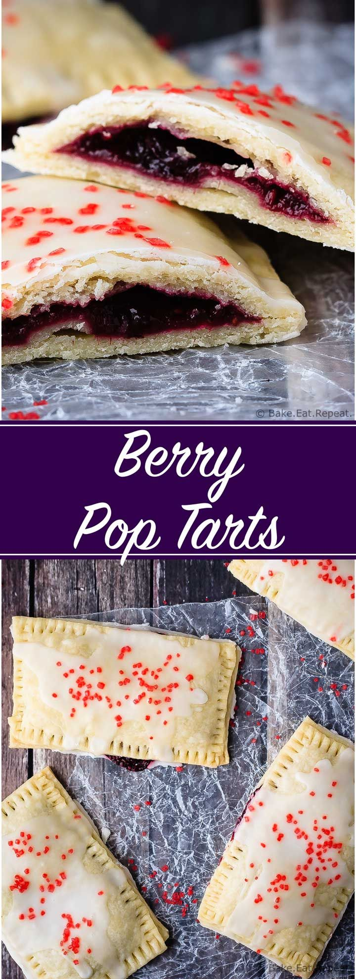 Berry Pop Tarts - Easy to make homemade berry pop tarts that are better then the real thing. Flaky pastry, homemade berry filling and a sweet frosting - pie for breakfast?