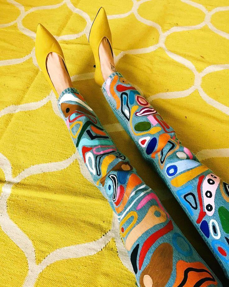 Miranda Makaroff painted pants. Verified