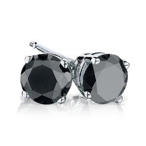 Lend Yourself Some Instant Style With These Amazing Black Stud Diamond Earrings In Sterling Silver And 4 Carat Of Sparkling Diamonds