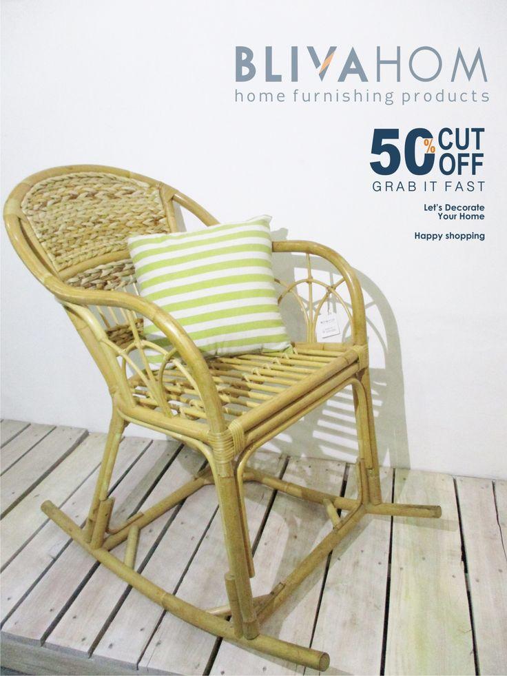 KURSI GOYANG  ° Size: 51 x 88 x 89 cm ° Material: Natural Rattan and midrib banana ° Colour: natural ° IDR: 600,00 (disc50%) READY STOCK  Happy shopping