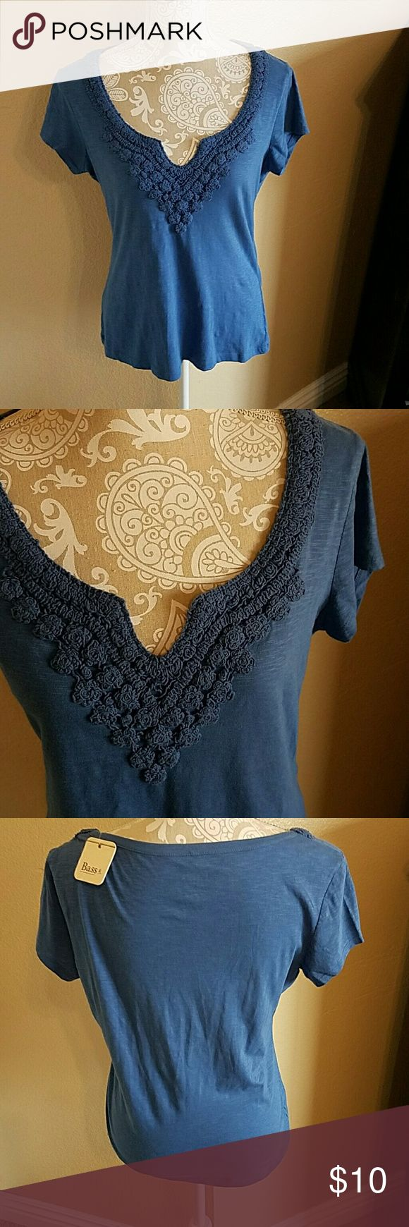 Bass Cornflower Blue V Neck Top sz M NWT NWT Beautiful Cornflower Blue Bass V Neck Top with a Pretty Crochet Detail Neckline. 100% Cotton soft and  comfy. The 4th photo is truest to color. Definitely  photographs darker than it really is. Bass Tops Tees - Short Sleeve