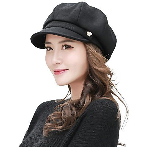 5df01df5531 Siggi Womens Newsboy Cap Soft Satin Lined Winter Visor Beret Cabbie Hat  Black     For more information