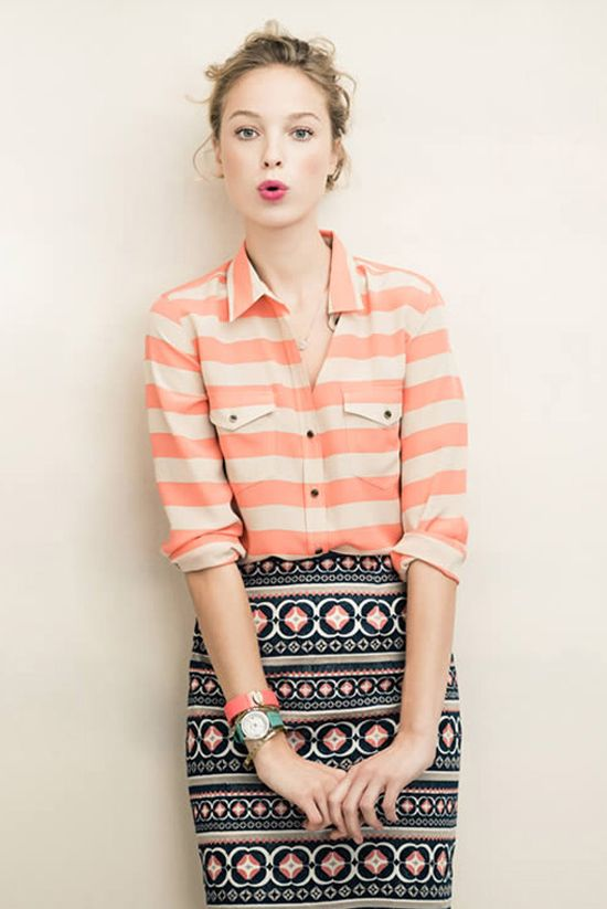 the pencil skirt to pair with pink blouse - day 3 -RT1- oh hello striped shirt and patterned pencil skirt.wedge (4-a)