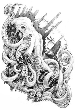 Kraken -Mythic Creatures..thrills all over my body, I will one day be killed by a sea creature, they scare the shit out of me.