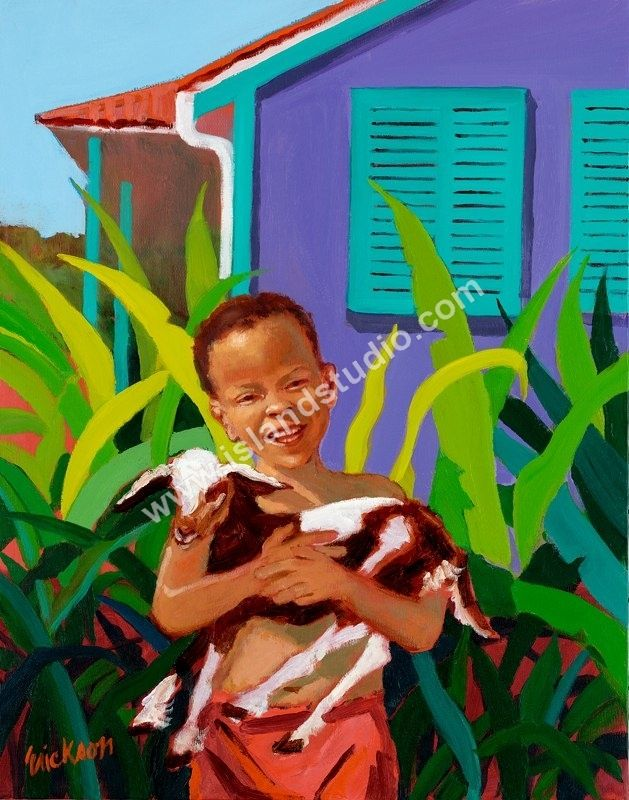 I love how happy this little boy looks as he holds his little goat in front of the green bushes and purple house. I've heard that these types of paintings can serve as great reminders to be happy in all circumstances and situations. I'll be sure to remember what this painting looks like the next time I go to buy a new painting for my home.