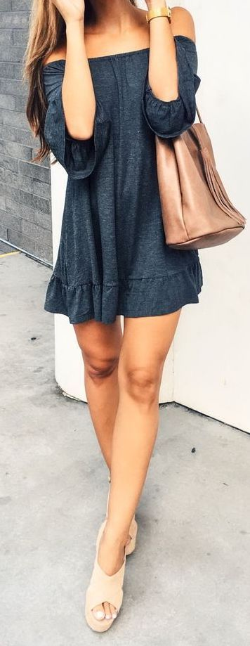 #summer #outfits / dark gray off the shoulder playsuit