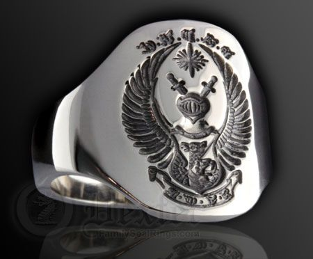 Coat of Arms Engraved on to a Cushion Shape Cigar Style Band