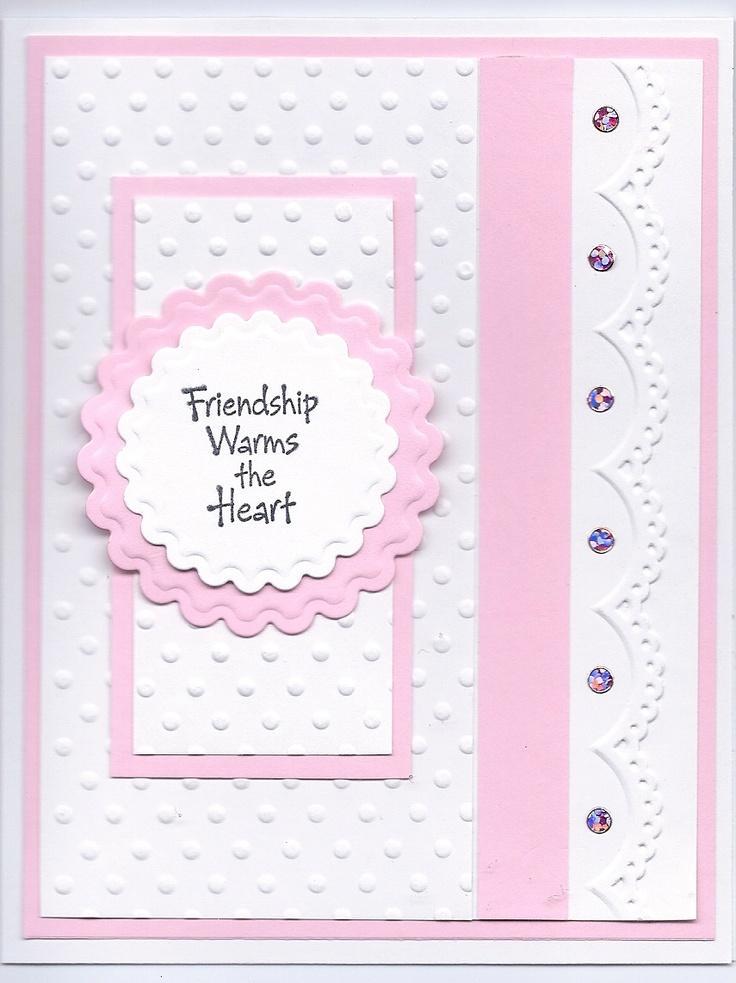 Sizzix embossing folder, darice embossing border folder, Hero Arts Friendly Greetings stamp set,  Spellbinders scalloped circle die cuts, Class a'peel stickers Dot Sparklers Pink