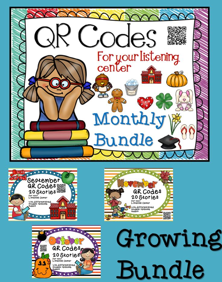 QR Codes in the classroom for your listening centers. Daily 5 Listening Center options, Listen to Reading, Read Alouds, School to Home Connection. Growing Bundle