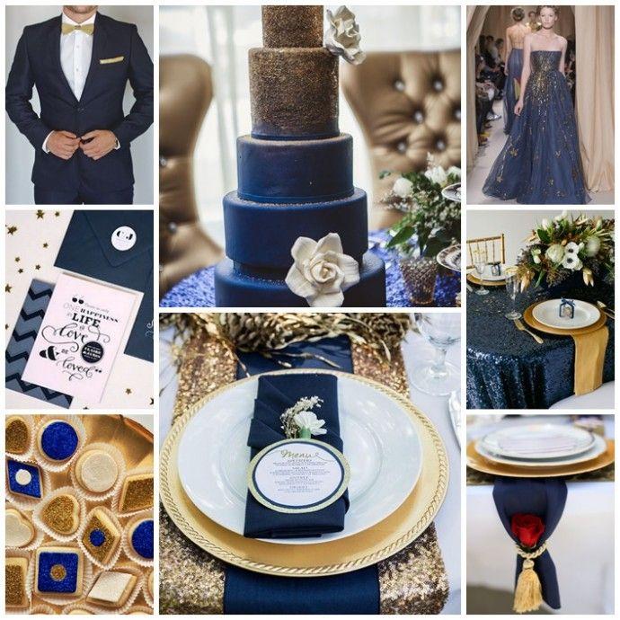 Les 25 meilleures id es de la cat gorie mariages en bleu marine sur pinterest th mes de for Decoration chambre bleu nuit et or