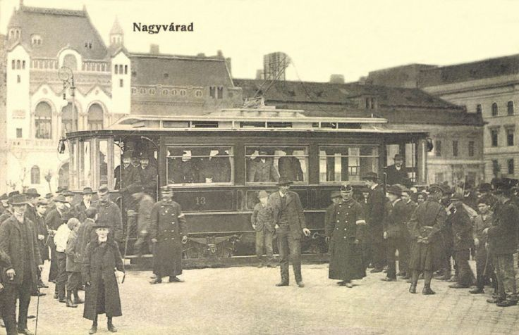 Oradea: tram 13th on Szent László Square in 1906.