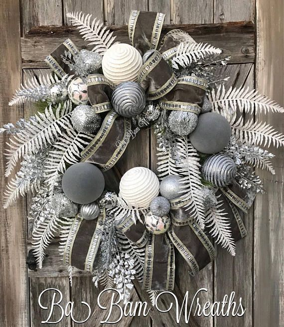 Stunning Silver White Wreath Grey Christmas Christmas Swag Christmas Wreaths White Christmas Wreath Christmas Swags